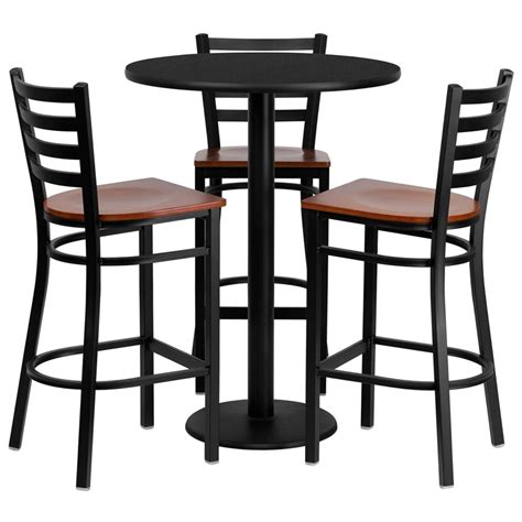 wood bar table and stools 30 quot round black laminate table set with 3 ladder back