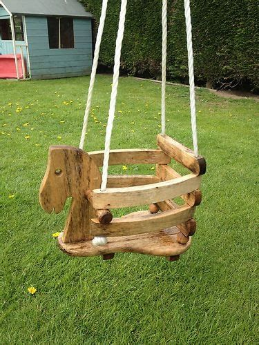 wooden child swing toddlers baby wooden garden horse swing