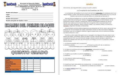 examenes de 4 primaria 5 bimestre examen del quinto grado del primer bloque del ciclo