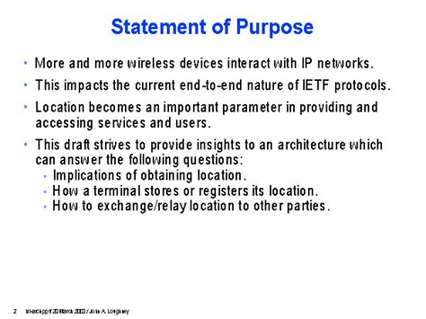 what is the purpose of a template statement of purpose