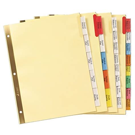 avery big tab insertable dividers 5 tab set 11109