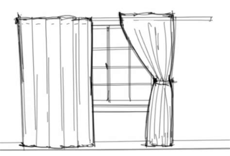 draw curtains curtain line drawing