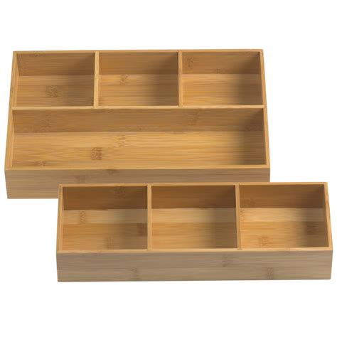 Bamboo Drawer Dividers by Bamboo Drawer Organizer Trays The Container Store