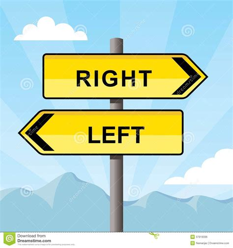 st on left or right yellow direction sign pointing opposite directions words