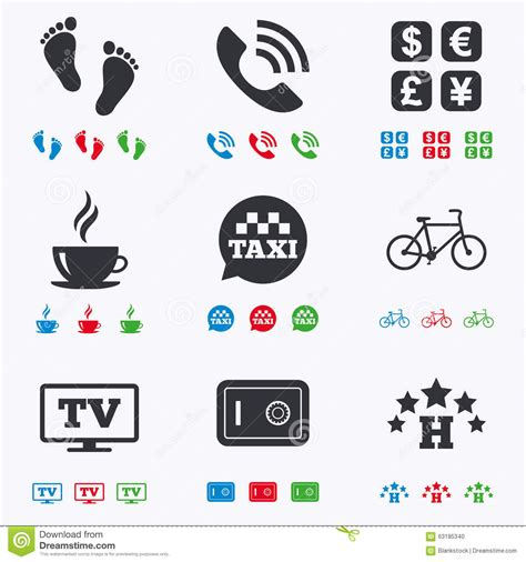 Apartment Services One Time Payment Hotel Apartment Services Icons Coffee Sign Stock Vector