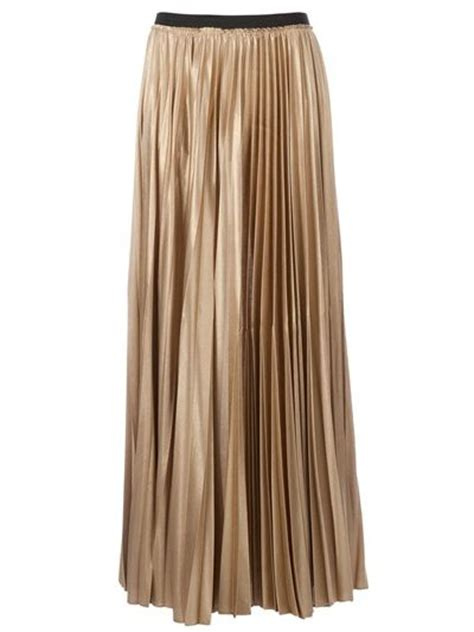 gold pleated maxi skirt basket