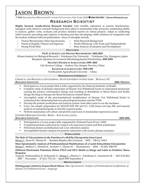 Science Research Resumes Scientific Resume Templates