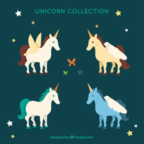unicorn collection colored unicorn collection with vector free