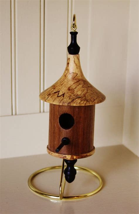 miniature woodturned bird house  junctiontrade  etsy
