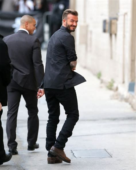 david beckham is casual in black for jimmy kimmel