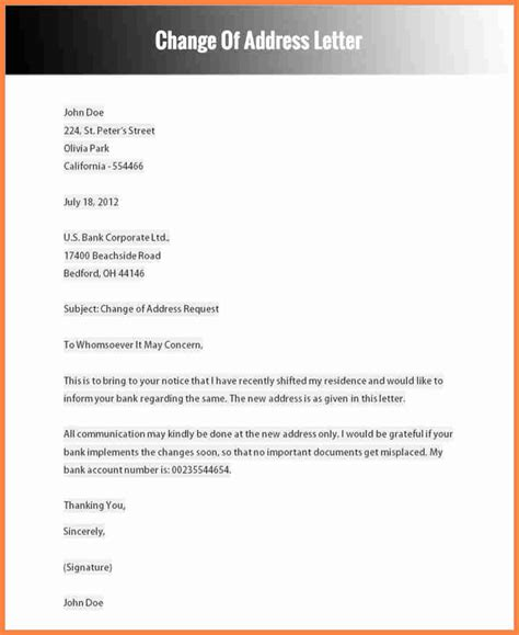 change of address notification letter template 6 change of address notice template notice letter