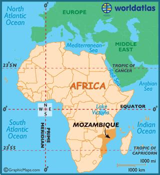 mozambique map / geography of mozambique / map of