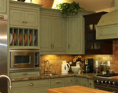 rustic green kitchen cabinets distressed country kitchen cabinets