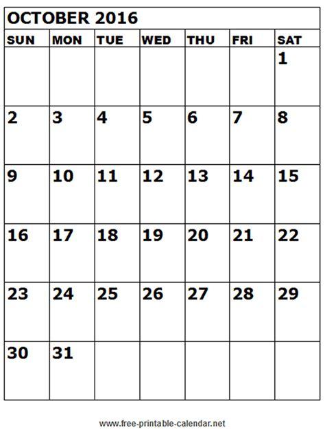 October 2016 Printable Calendar