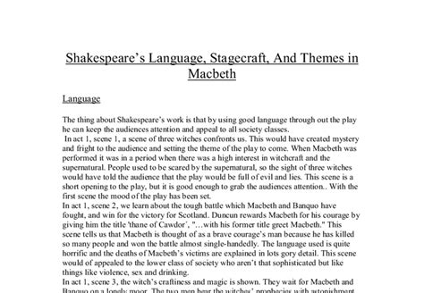themes in macbeth gcse shakespeare s language stagecraft and themes in macbeth