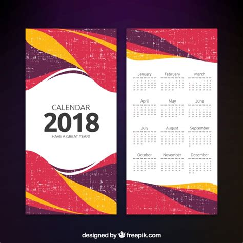 Calendar 2018 Template Vector Abstract 2018 Calendar Template Vector Free