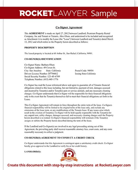Co Signer Agreement Rental Lease Cosigner With Sle Cosigner Contract Template