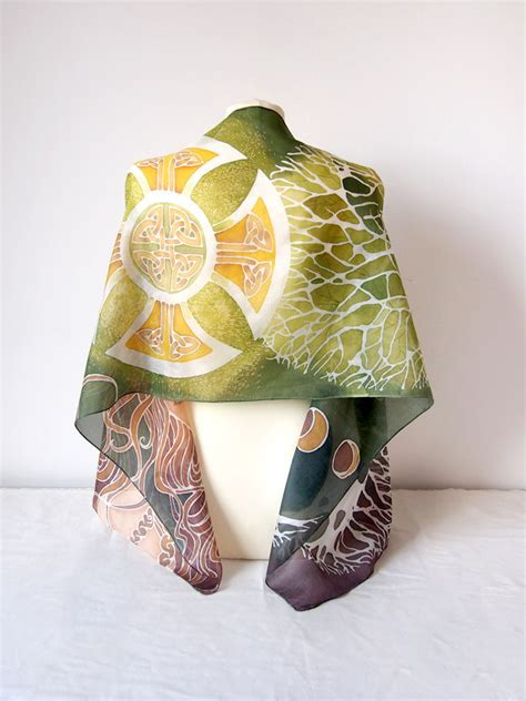 silk scarf celtic tree of scarf painted scarf