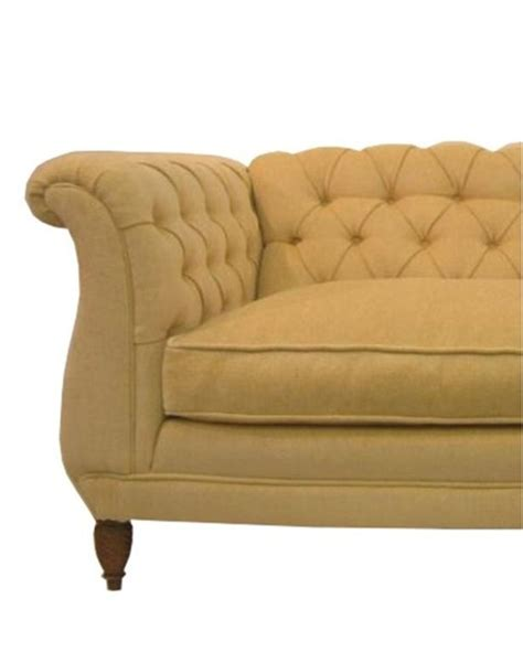 Chenille Chesterfield Sofa Chesterfield Sofa Uphosltered In Filled Yellow Chenille At 1stdibs