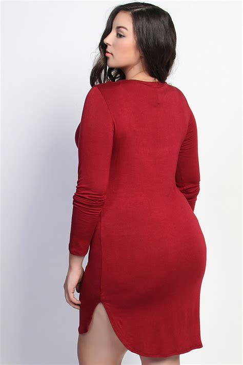 Side Slit Sleeve Knit Dress themogan plus sleeve side slit stretch knit t