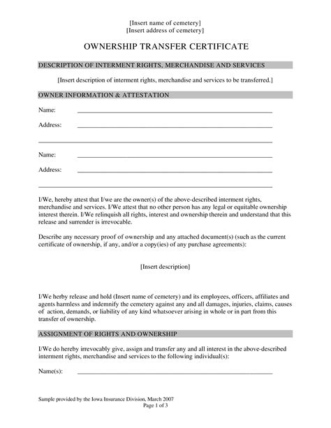 ownership transfer letter format templates