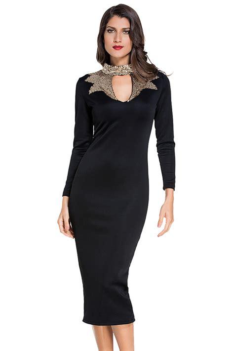 Mock Neck Sleeve Midi Dress navy sequins mock neck midi dress sleeve