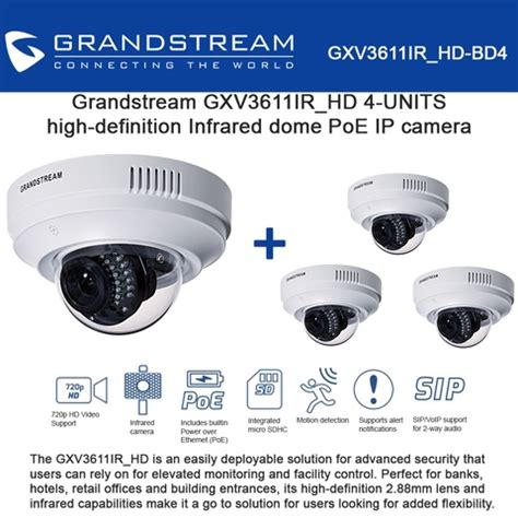 Grandstream Gxv3611ir Hd Indoor Infrared Fixed Dome Hd Ip grandstream gxv3611ir hd 4 pack indoor infrared fixed dome ip