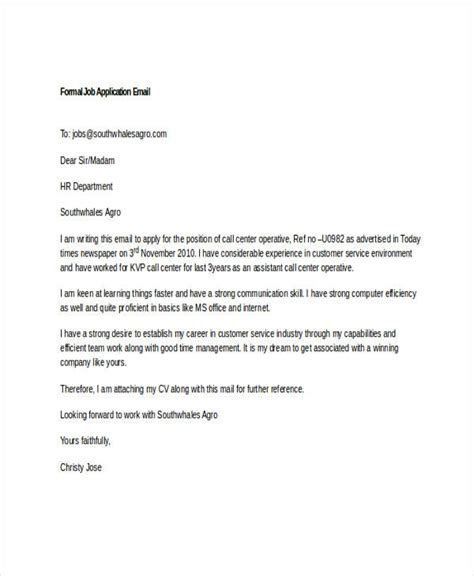 Formal Email Format Applying Job | 7 job application emails exles sles pdf doc