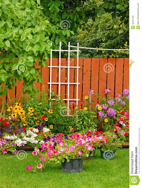 backyard gardener colorful backyard garden royalty free stock photo image