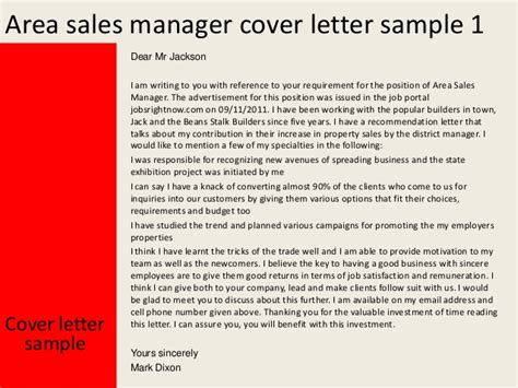 Cover Letter For The Post Of Area Sales Manager by Area Sales Manager Cover Letter