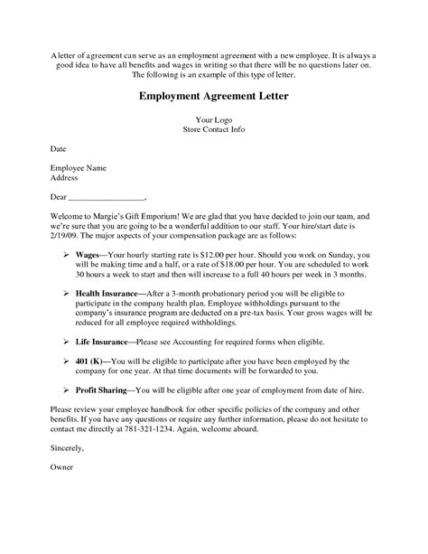 Working Contract Letter Sle 10 best images of work agreement letter employment