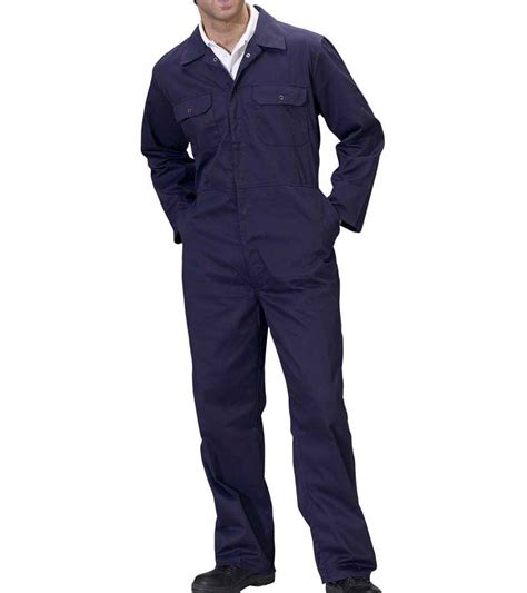 Overall Navy overalls regular navy poly cotton boilersuits press stud