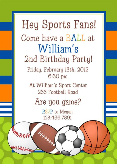 sports themed birthday invitations sports themed baby shower and birthday party invitation