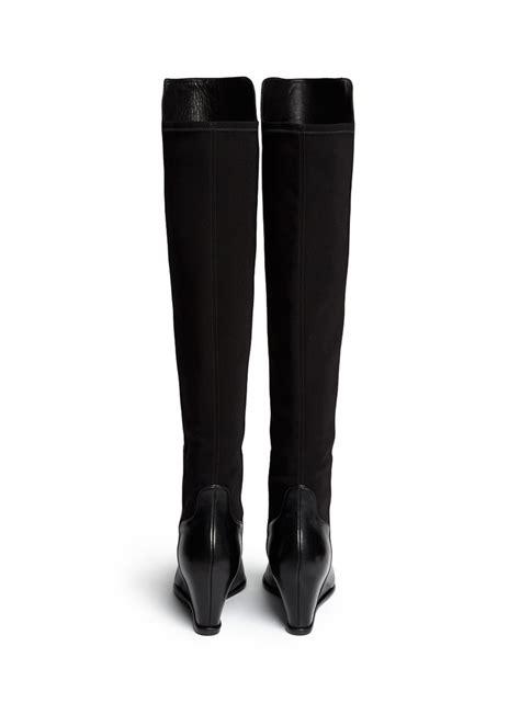 stuart weitzman semi elastic back leather boots in black