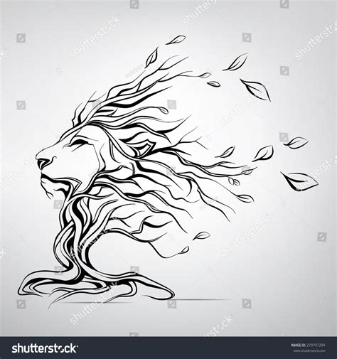 head lion form tree stock vector 279797204 shutterstock