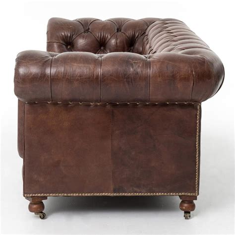 Chesterfield Tufted Leather Sofa Club Chesterfield Tufted Brown Leather Sofa 96w Kathy Kuo Home