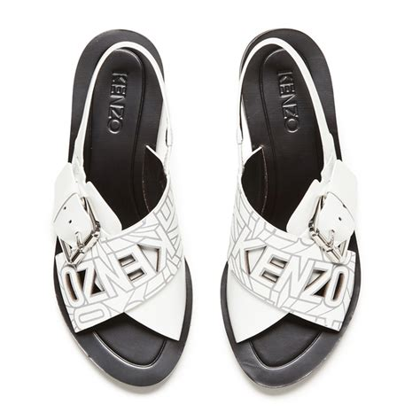 Sandal Karet S35 12 kenzo s kruise buckle leather sandals white free uk delivery 163 50