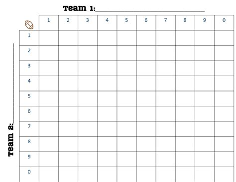 football square board template printable 100 square football board search engine