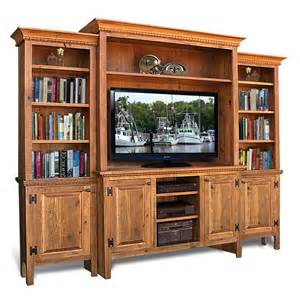 Red Tv Armoire Rustic Shaker 4 Pc Wall Unit