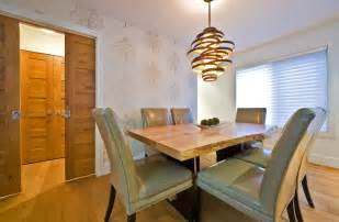 funky light fixtures dining room contemporary with green