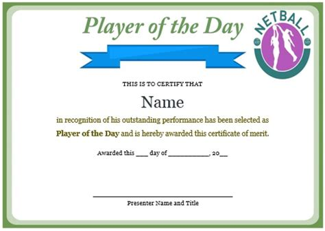 10 professional player of the day certificate templates