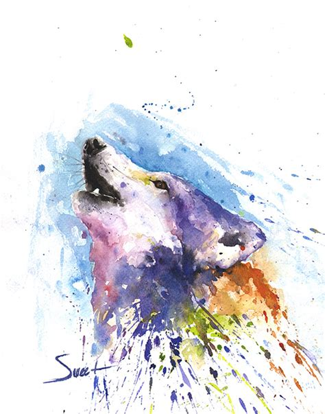 watercolor painting wolf watercolor print abstract animal paintings