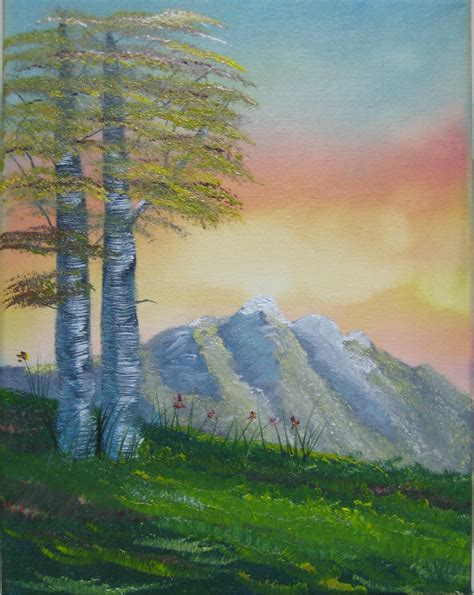 bob ross painting birch trees gary frascarelli artist painting