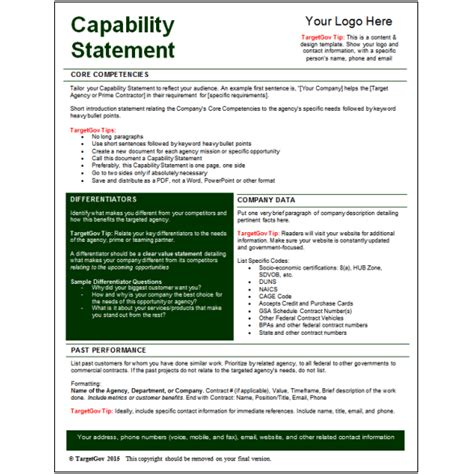 capabilities statement template capability statement editable template targetgov