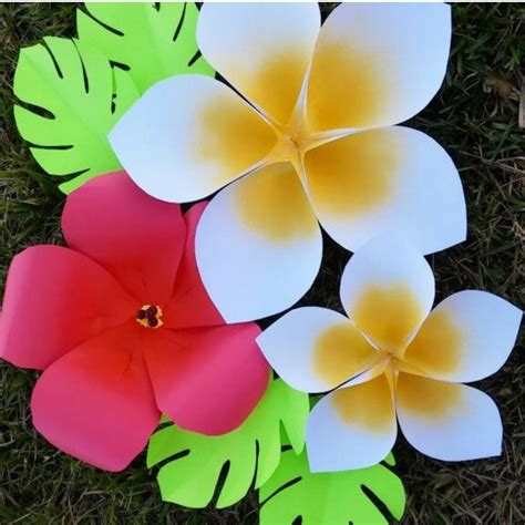 Giant Hawaiian Paper Flower Templates Tutorial Paper Hawaiian Flower Template