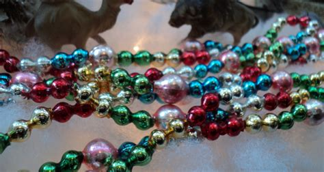 unusual vintage glass bead christmas tree garland