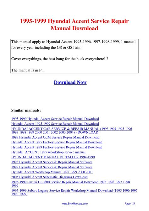how to download repair manuals 2007 hyundai accent engine control 1995 1999 hyundai accent service repair manual pdf by ging tang issuu