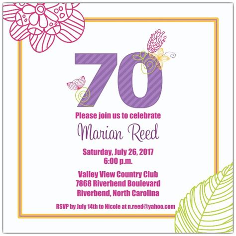 70 birthday invitation template 70 birthday invitations templates bagvania free