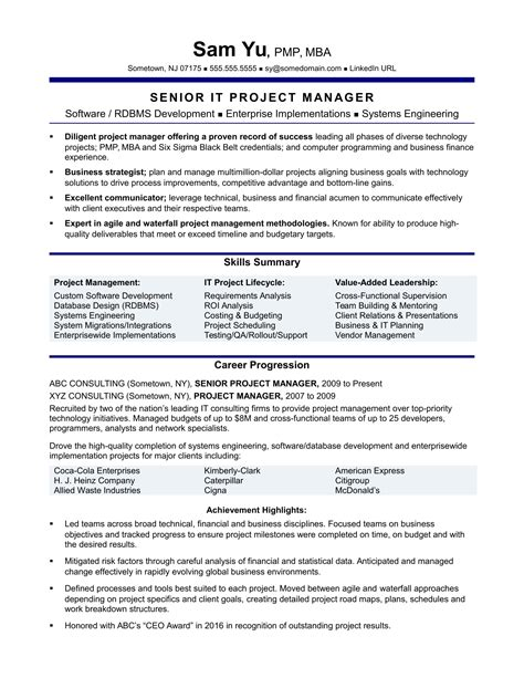 project manager resume format experienced it project manager resume sle