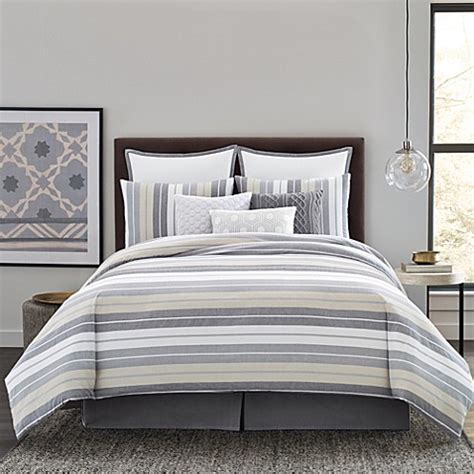real simple bedding real simple 174 tyler duvet cover set in grey ivory bed
